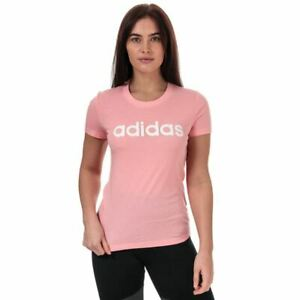 Women's adidas Essentials Linear Crew Neck Slim Fit Cotton T-Shirt in Pink
