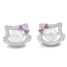 Lovely Hello Kitty Clear Crystal Pearl 925 Sterling Silver Earrings
