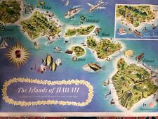 the islands of Hawaii Dessiaume 1957 - Original - 79,5 x 52 cm -