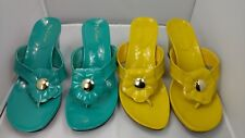 Nue Options Wedge Heeled Sandals Lot 2 Pair Sammy Turquoise Yellow Women's 8 M