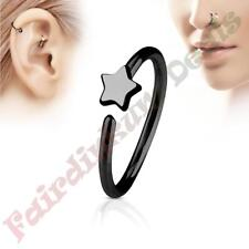 316L Surgical Steel Black Ion Plated Nose & Ear Cartilage Ring with Star