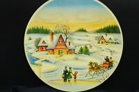 Vtg 1950s?Horton's 2#Circular Metal Candy Tin-Winter Scene,Sleigh Riding, Guests