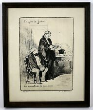 """SIGNED Honore Daumier """"Les Gens De Justice"""" Etching, French Artist (1808 - 1879)"""