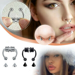 Non-Piercing Magnetic Nose Ring Fake Septum Segment Helix Tragus Faux Clicker UK