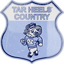 "University of North Carolina Tar Heels Country 11"" Shield Metal Sign Embossed"