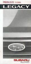 Subaru Legacy Preisliste 9 89 car price list 1989 Auto PKWs Preise Japan Asien
