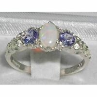 Solid Sterling Silver Natural Opal & Tanzanite English Victorian Trilogy Ring