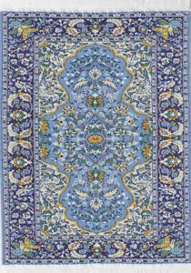 "1/12TH  DOLLS HOUSE TURKISH WOVEN CARPET 12½""(31cm) x 8""(20cm) BLUE/MULTI"