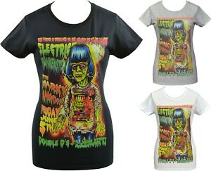 Womens RAMONES T-Shirt Frankenstein Dee Marky American Punk Lowbrow Johnny Ace