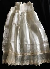 Antique Vintage Baby Infant Christening Baptism Gown Slip Silk & Cotton