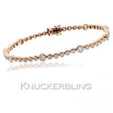 18 Carat Not Enhanced Rose Gold Fine Diamond Bracelets