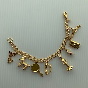 Barbie gold plated limited edition charm bracelet with charms 7 inches