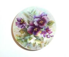 """Pretty Pansies Purple Flowers Button - Mother of Pearl MOP Shank Button 1+3/8"""""""