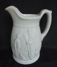 ANTIQUE RELIEF MOULDED JUG - HUNTSMAN AND BOY WITH DOGS PHEASANT SHOOTING - FINE