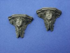 Miniature Dollhouse Set of 2 Green Tint Angel Face Brackets 1:12 Scale New