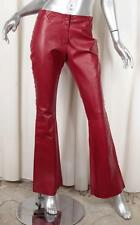 DOLCE & GABBANA Womens Red Leather Side Crosstitch Bootcut Flare Pants 40/4 S