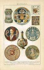 Farbtafel MAJOLIKA / FAYENCE Original-Lithographie 1894