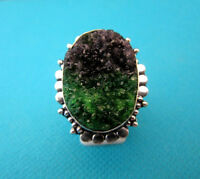 925 Silver Ring With Natural Green & Black Drusy, Size N, US 6.75 (rg2397)