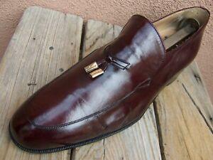 FERRAGAMO Mens Dress Shoes Burgundy Casual Slip On Italian Tassel Loafers 7.5E