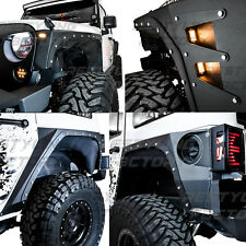 Body Armor Fender Flares Front+Rear Corner Guard+6x LED 07-17 Jeep JK Wrangler