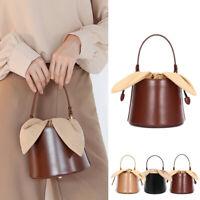 Rabbit Ears Drawstring Real Leather Bucket Shoulder Bag Crossbody Purse Handle