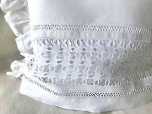 Antique c1900 Linen Tea Cosy Needlework Drawn Thread Lace Hemstitch Ruffle White
