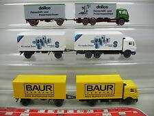 af216-0, 5 #3X Wiking H0 Trailer Truck Mercedes-Benz MB : Baur + schmalbach+