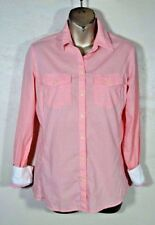 Banana Republic Soft Wash Gingham Blouse XS Coral Camp Pockets White Cuffs Tunic