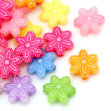 30 Mixte Perles intercalaire Acrylique Fleur 12 x 11 mm