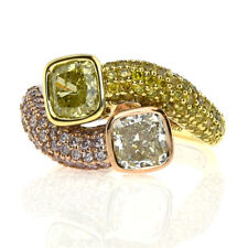 Fine 2.97ct Natural Fancy Yellow & Pink Diamonds Engagement Ring 18K Solid Gold