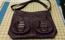 Medium Tignanello Dark Purple Pebble Leather Shoulder Bag w/ Braided Accent!!