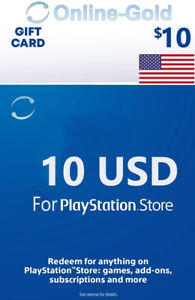 For 10 Dollar Playstation Network - For PS5, PS4, PS3 PS Vita Guthaben Code - US