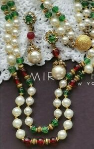 HASKELL 2-PC Suite Faux Pearl Red Glass Green Côtelé Bead Gold Gilt Brass Accent