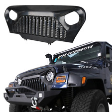 ABS Grille Grill Matte Black Built-In Mesh for 1997-2006 Jeep Wrangler TJ