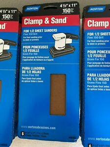"""NORTON CLAMP & SAND 150 GRIT 4 1/2"""" X 11"""" PACKS OF 6 EACH-- 27 PACKS NEW"""