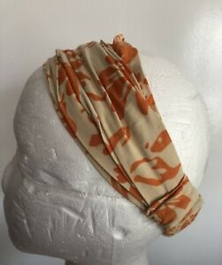 Cape Cod purchased Orange &  beige Floral cotton head Band hair accessory