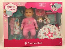 "NEW AMERICAN GIRL Bitty Baby 15"" Doll w/ 12 Piece Layette Set Blonde -Blue Eyes"