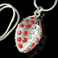 w Swarovski Crystal ~Red 3D American FOOTBALL~ BALL Sport Charm Pendant Necklace