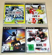 4 PLAYSTATION 3 PS3 SPIELE SAMMLUNG - FIFA 12 PES 2012 NHL 11 FORMULA 1 F1 2010