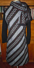 VINTAGE 1970S ADORABLE BLACK DIAGONAL STRIPPED 3/4 SLEEVE DRESS, SZ 14, FLAWLESS