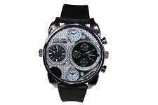 Dual Time White Silver Watch Rubber Mens Geneva Fashion Designer