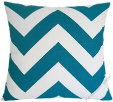 Deep Aqua Blue/White Chevron ZigZag Decorative Throw Pillow/Cushion Cover 20x20""