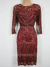 BNWT Savoir Burgundy & Gold Lace Ruched Hourglass Wiggle Dress Size 14 RRP £57