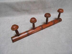 French Vintage Wood SCHOOL COAT & HAT Rack w/ 4 PEGS