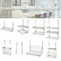 Stainless Steel Kitchen Organizer Wall Hanging Storage Dish Rack Drying Holder