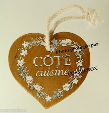 Plaque de porte en bois COTE CUISINE en forme coeur déco maison wood door plate
