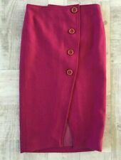 Corey Lynn Calter 2 XS Anthropologie Wool Button Front Pencil Skirt Magenta Pink