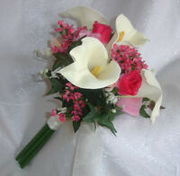 Pink Ivory Cream Bridal Bouquet Roses Calla Lilies Silk Wedding Flowers Handtied