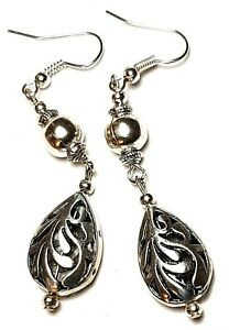 Long Silver Earrings Filigree Beads Drop Dangle Vintage Chic Boho Retro Style