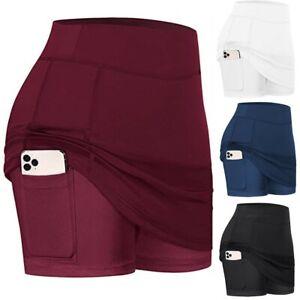 Womens Tennis Skirts Run yoga Inner Shorts Elastic Sports Golf Pockets Skorts 66